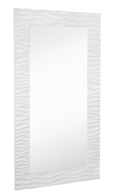 large stylish rectangular glossy white lacquer wavy framed glass wall mirror