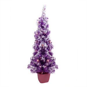 35 purple artificial christmas tree with 35 clear lights with pot tinsel branches and - Christmas Tree In A Pot