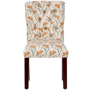 Vanslyke Tufted Vanves Floral Parsons Chair by Alcott Hill
