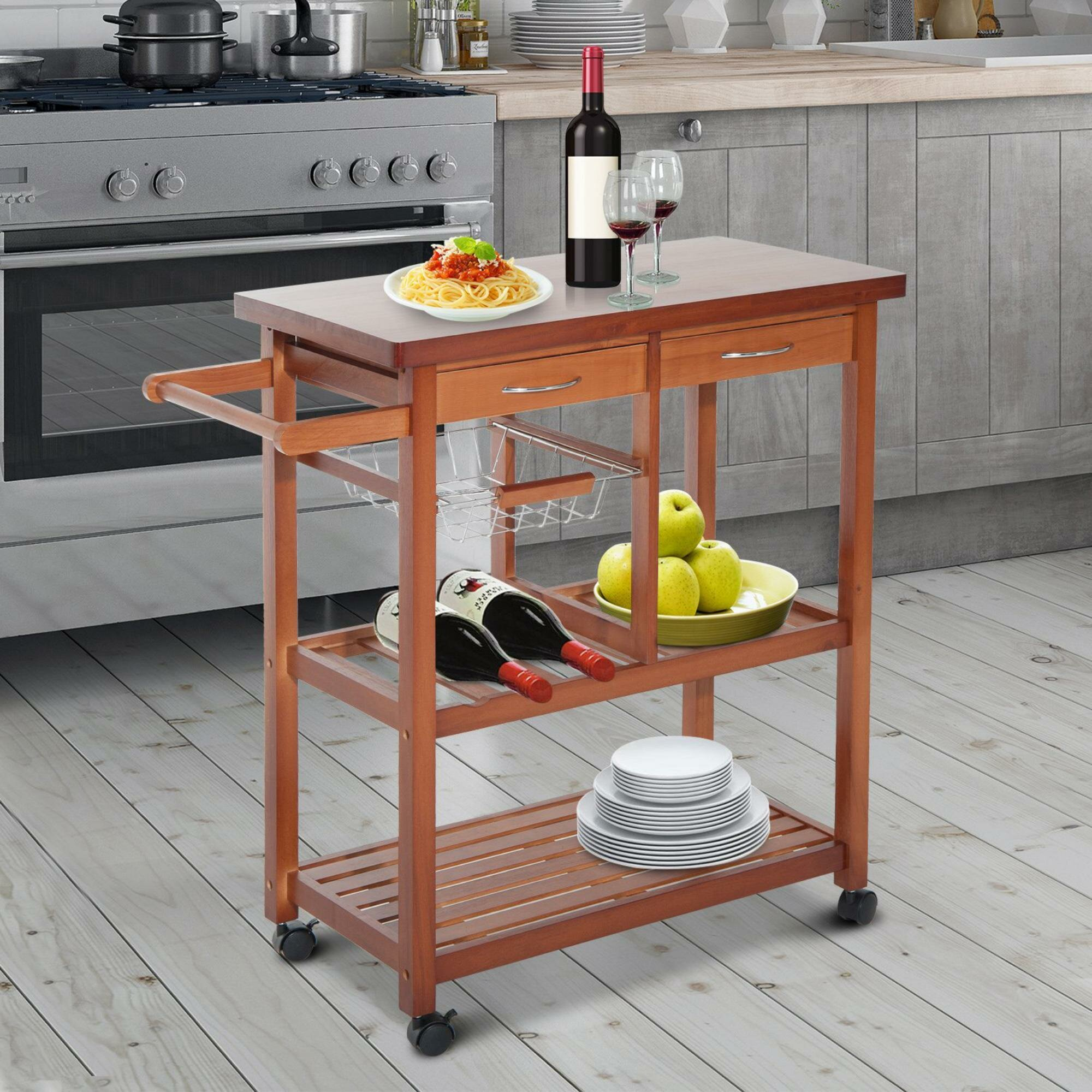 Winston Porter Atlas Wooden Rolling Storage Microwave Kitchen Cart Wayfair