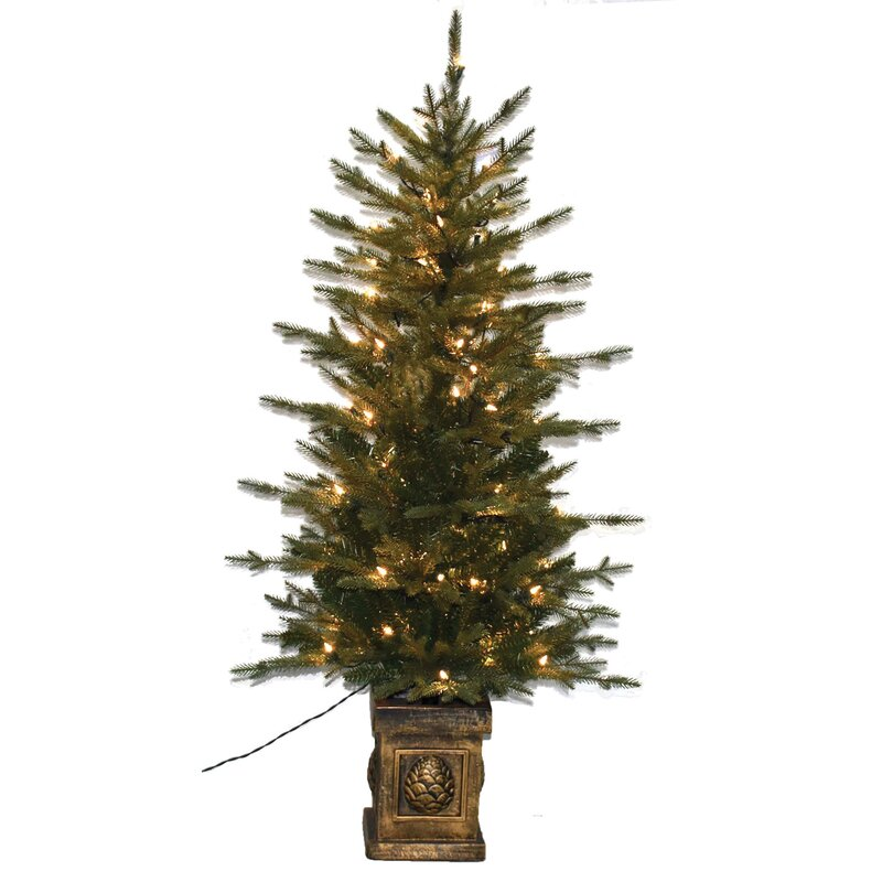 White Fir Christmas Tree: The Holiday Aisle Balsam PE Potted 4.5' Green Fir