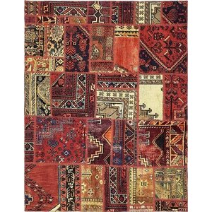 Sela Vintage Persian Hand Woven Dyed Wool Red Tribal Patchwork Area Rug