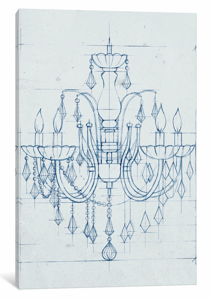 East urban home chandelier draft i drawing print on canvas wayfair aloadofball Image collections