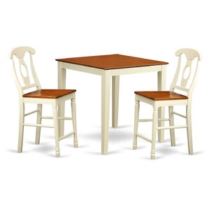Vernon 3 Piece Counter Height Pub Table Set by East West Furniture