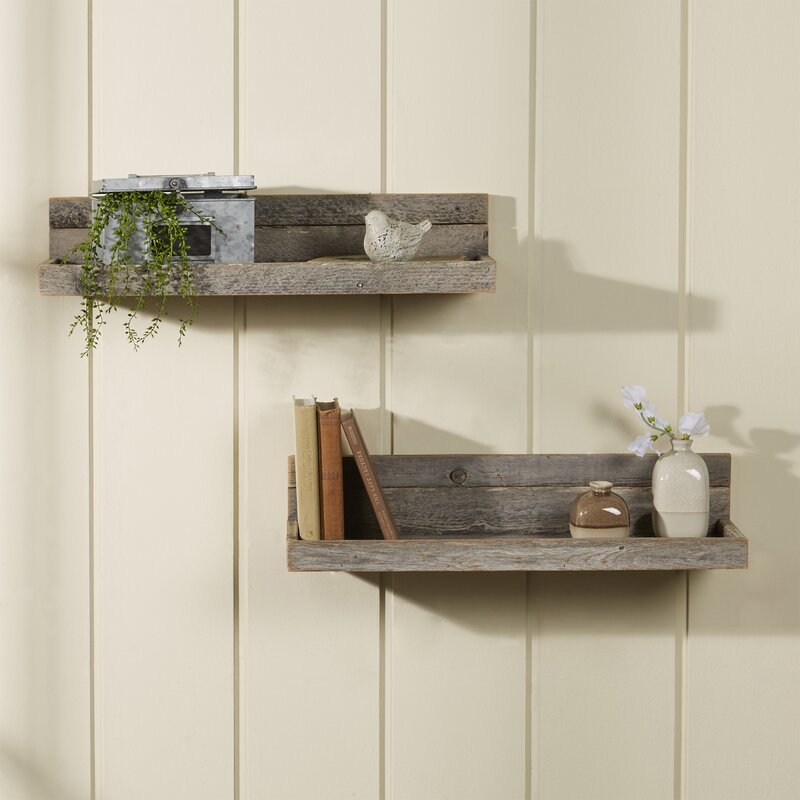 Floating Shelving laurel foundry modern farmhouse 2 piece reclaimed floating shelf