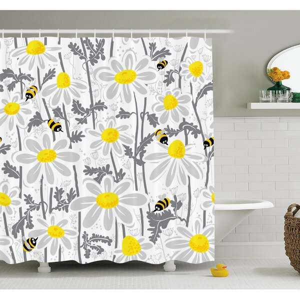 Ambesonne Daisy Flowers with Bees in Spring Time Honey Petals Floret ...