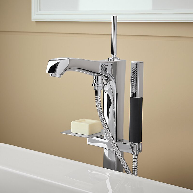 Shower With Hand Shower Part - 48: Margaux Floor Mount Bath Filler With Hand Shower
