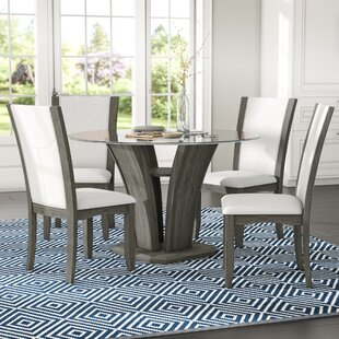 Kangas 5 Piece Glass Top Dining Set