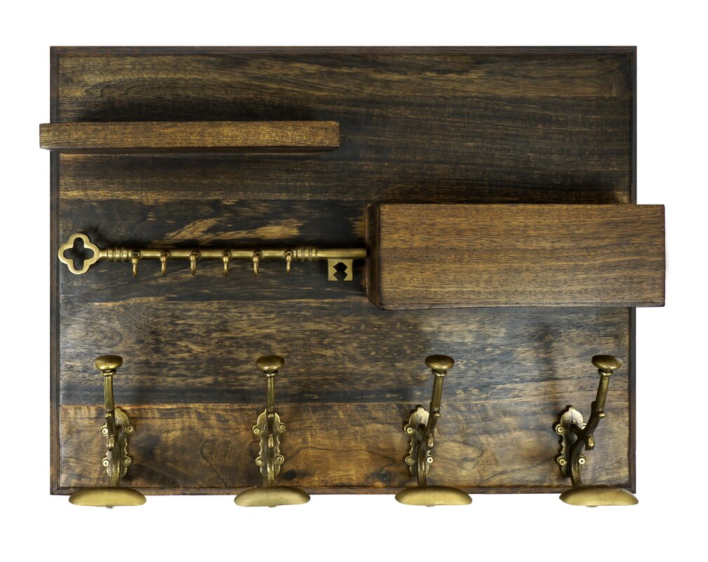 coat hook rack with shelf and mail holder