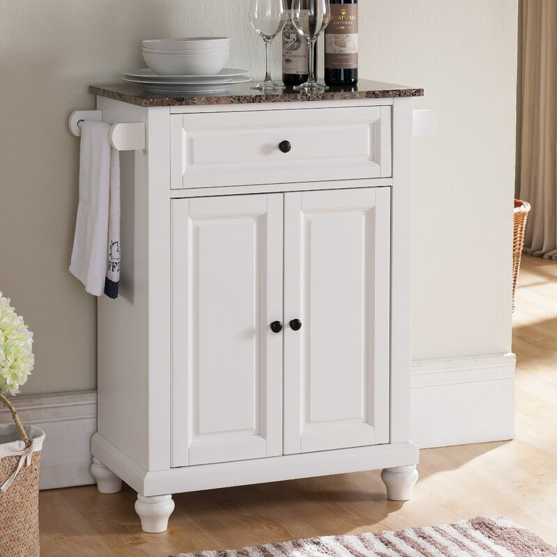 Kitchen Island With Marble Top: Alcott Hill Leonard Kitchen Island With Faux Marble Top