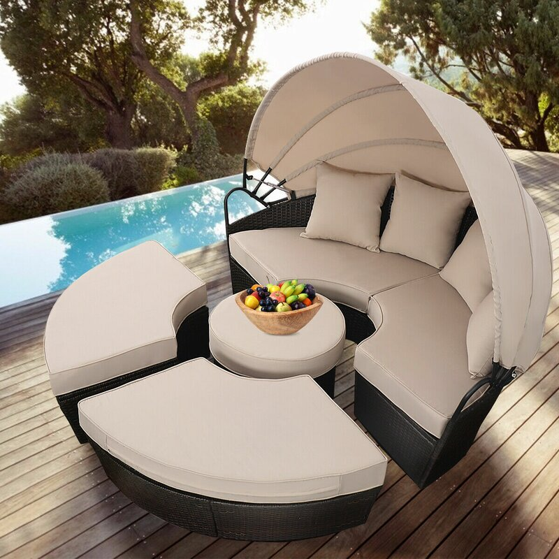 Noor Outdoor Mix Brown Rattan Patio Sofa Furniture Round Retractable Canopy  Daybed