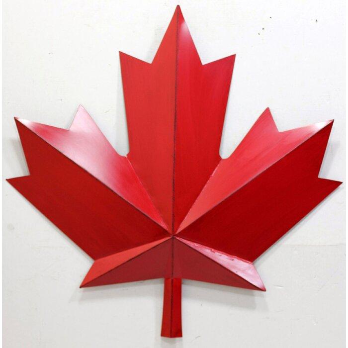 Metal Red Maple Leaf Wall Decor