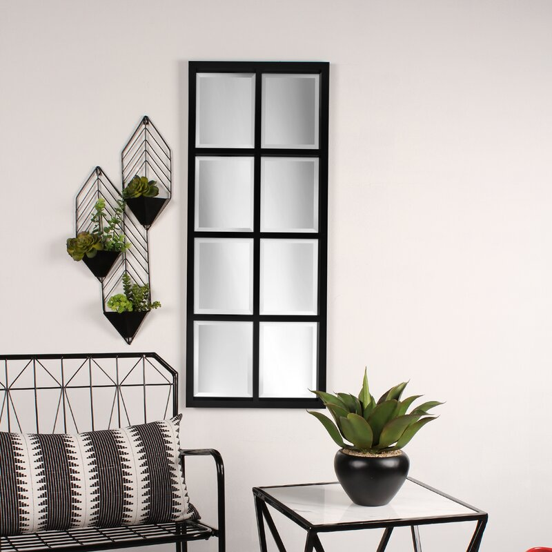 Wall Mirror With Shelf kate and laurel stryker windowpane framed wall mirror & reviews