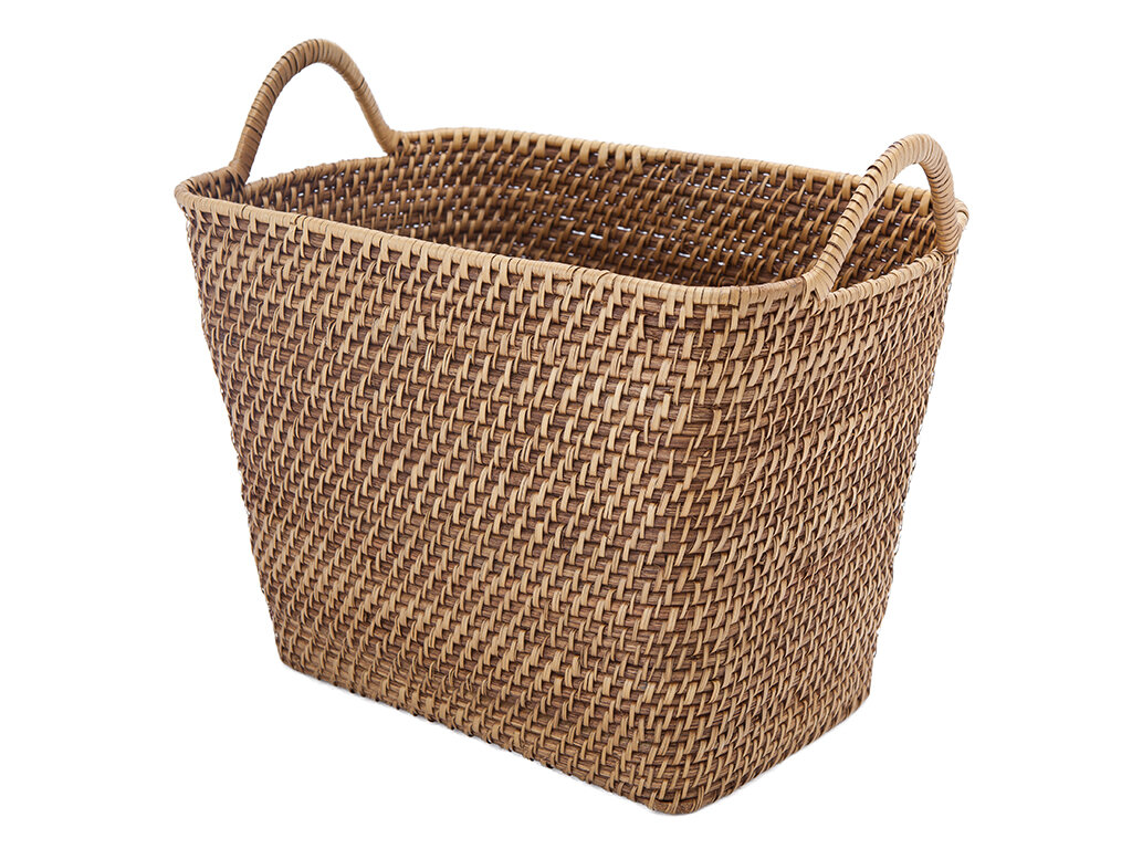 Highland Dunes Rectangular Storage Rattan Basket With Ear Handles | Wayfair