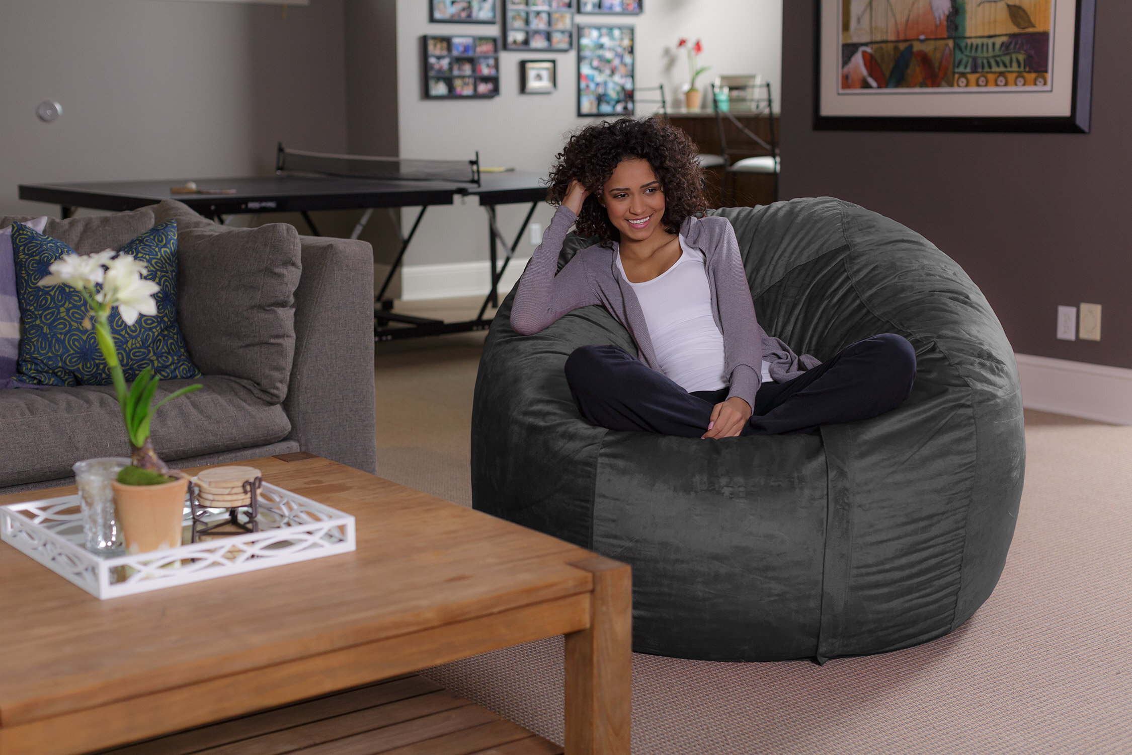 gallery with and pillow whole takes this in covers to a blanket bed naptime built cushion giant bean chair new level talk bag