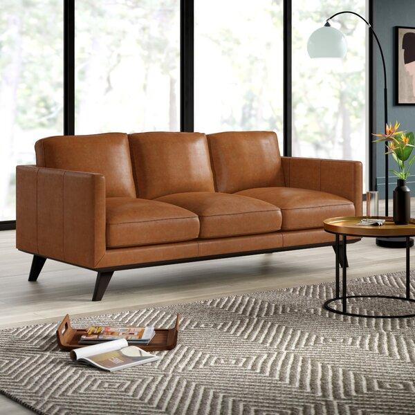 Dark Brown Leather Couch | Wayfair