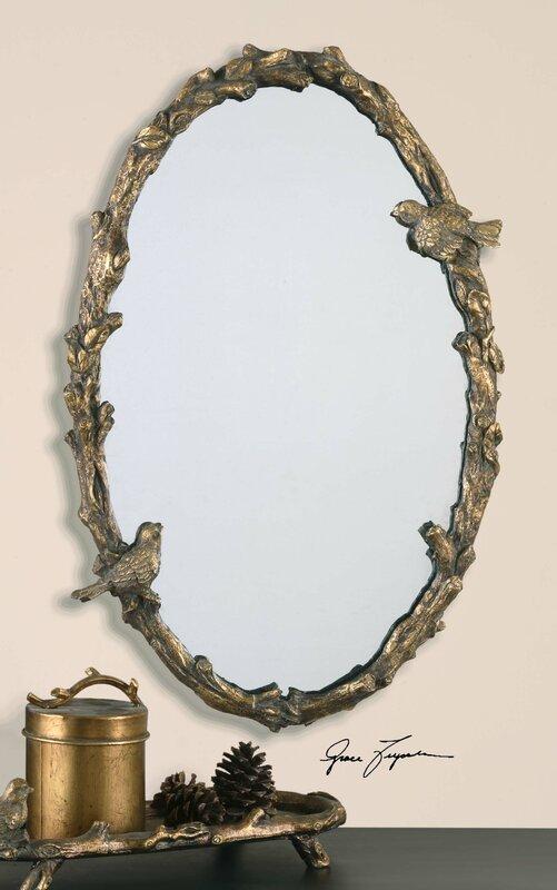 One Allium Way Eliana Oval Mirror In Antique Gold Leaf