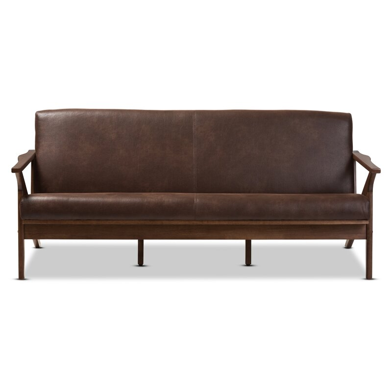 Trent Austin Design Arick Mid-Century Faux Leather Modern Sofa ...