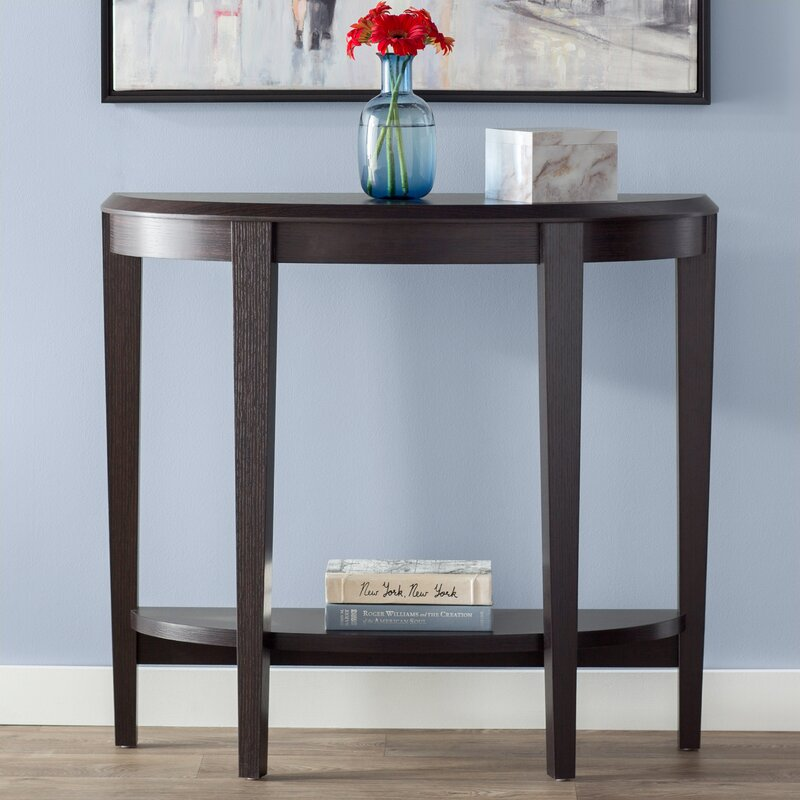 andover mills blakeway half moon console table reviews wayfair. Black Bedroom Furniture Sets. Home Design Ideas
