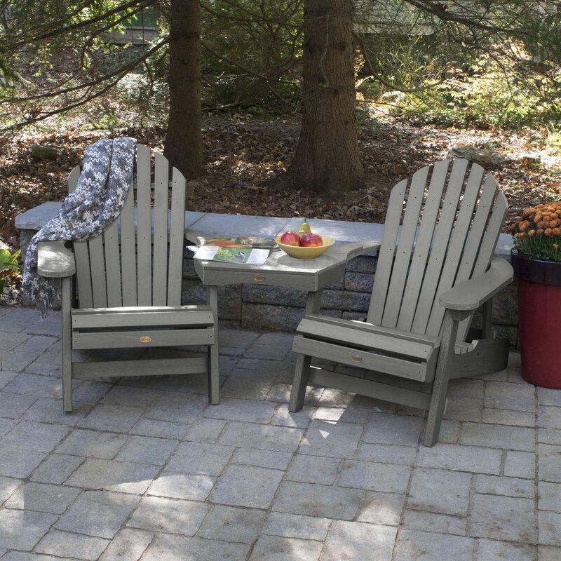 Camacho Plastic Folding Adirondack Chair With Table