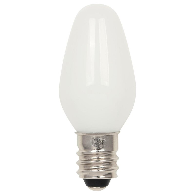 1 Watt (4 Watt Equivalent), C7 LED, Non-Dimmable Light Bulb, (2700K)  E12/Candelabra Base