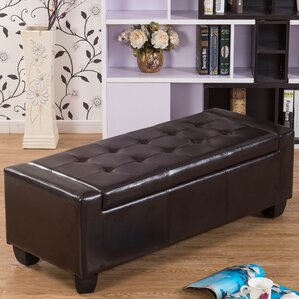 Mackenzie Leather Ottoman by Warehouse of Tiffany
