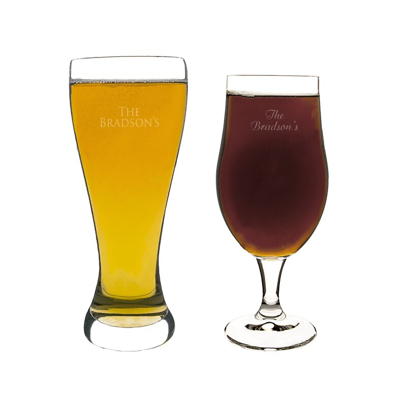 cathys concepts custom his and her pilsner glass 2 piece crystal