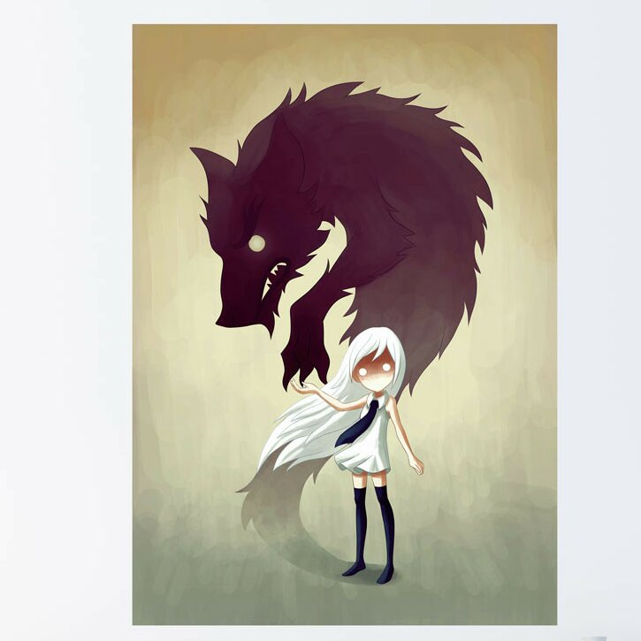 My Wonderful Walls Anime Girl And Wolf Wall Decal Wayfair