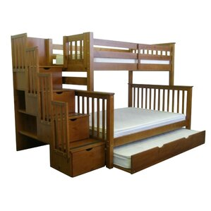 Stairway Twin over Full Bunk Bed with Full Trundle by Bedz King
