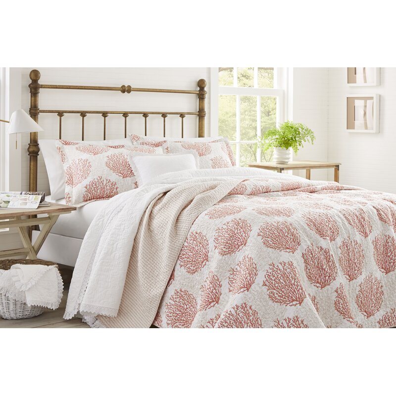 Laura Ashley Coral Coast Cotton Reversible Quilt Set By