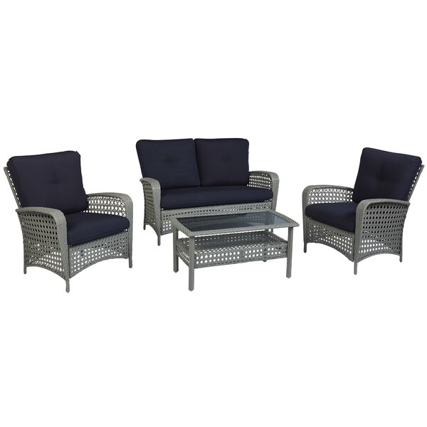Edwards 4 Piece Rattan Sofa Seating Group With Cushions Reviews Joss Main