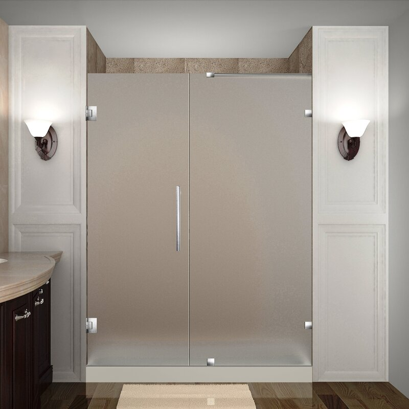 Aston Nautis 53 X 72 Hinged Completely Frameless Shower Door Wayfair