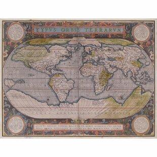 Antique world map wall art wayfair antique world map framed wall art gumiabroncs Image collections
