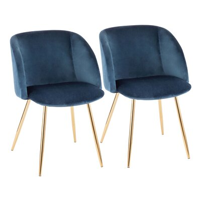 Brayden Studio Chu Upholstered Dining Chair Color: Blue/Gold