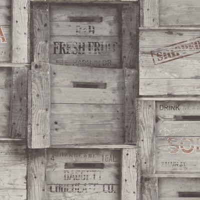 Distinctive Wood Crates 10m X 52cm Wallpaper Roll