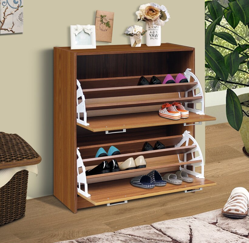 Double 24-Pair Shoe Storage Cabinet