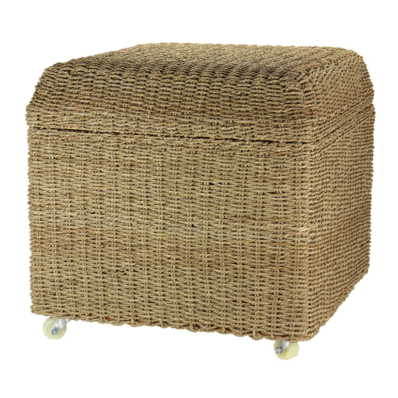 Rolling Seagrass Wicker Storage Seat Ottoman - Household Essentials Rolling Seagrass Wicker Storage Seat Ottoman
