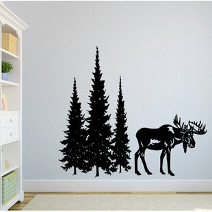 Dorella Moose And Pine Evergreen Tree Forest Wall Decal