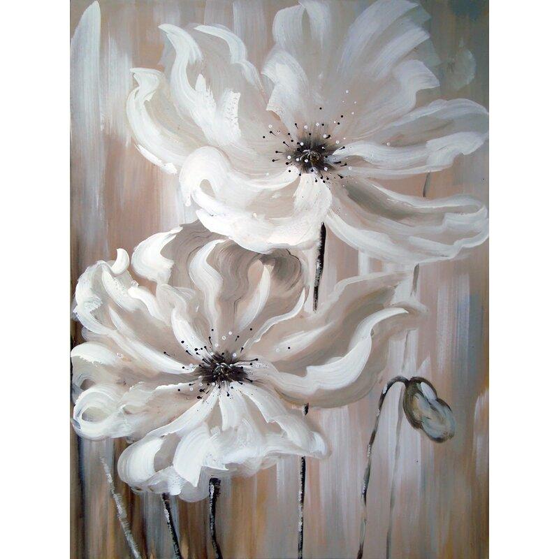 Ebern designs white flower i oil painting print on wrapped canvas white flower i oil painting print on wrapped canvas mightylinksfo