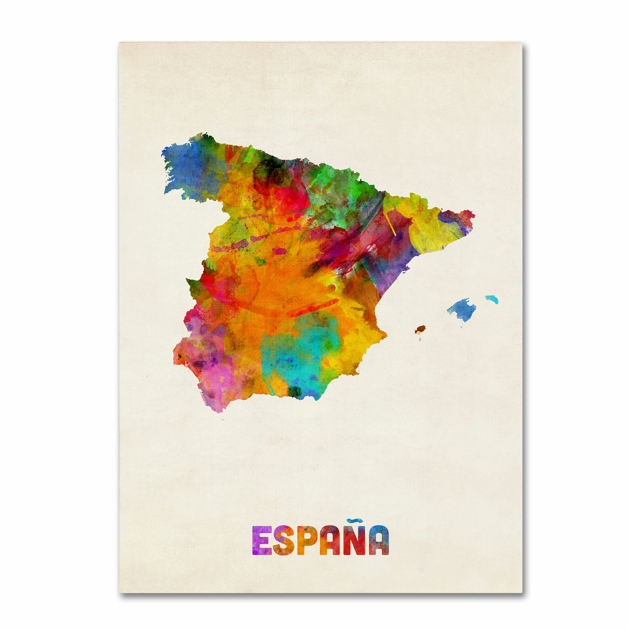 Map Of Spain For Printing.Spain Watercolor Map By Michael Tompsett Painting Print On Wrapped Canvas