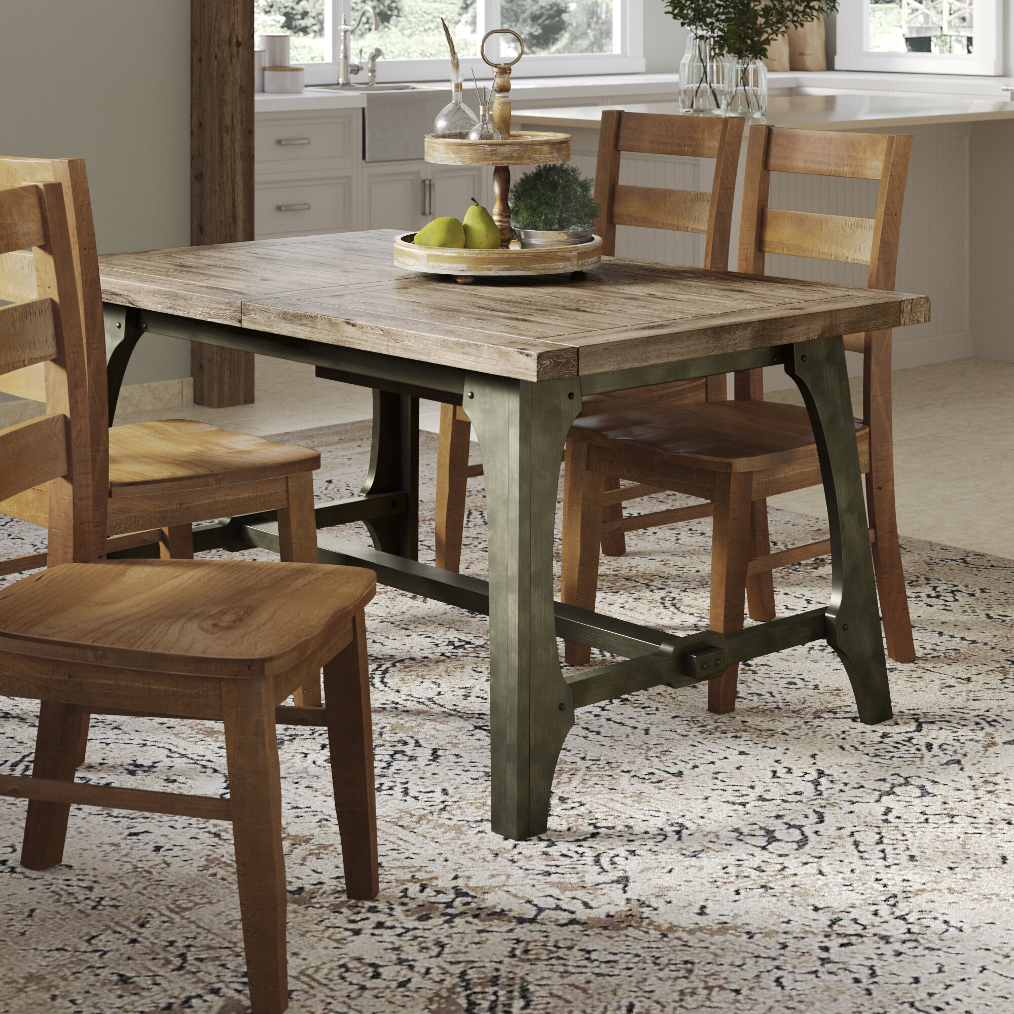 Wayfair & Casimir Extendable Solid Wood Dining Table