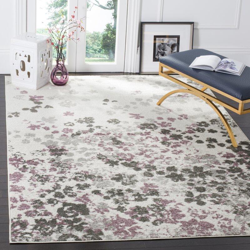 Lark Manor Ales Ivory/Gray/Purple Area Rug & Reviews
