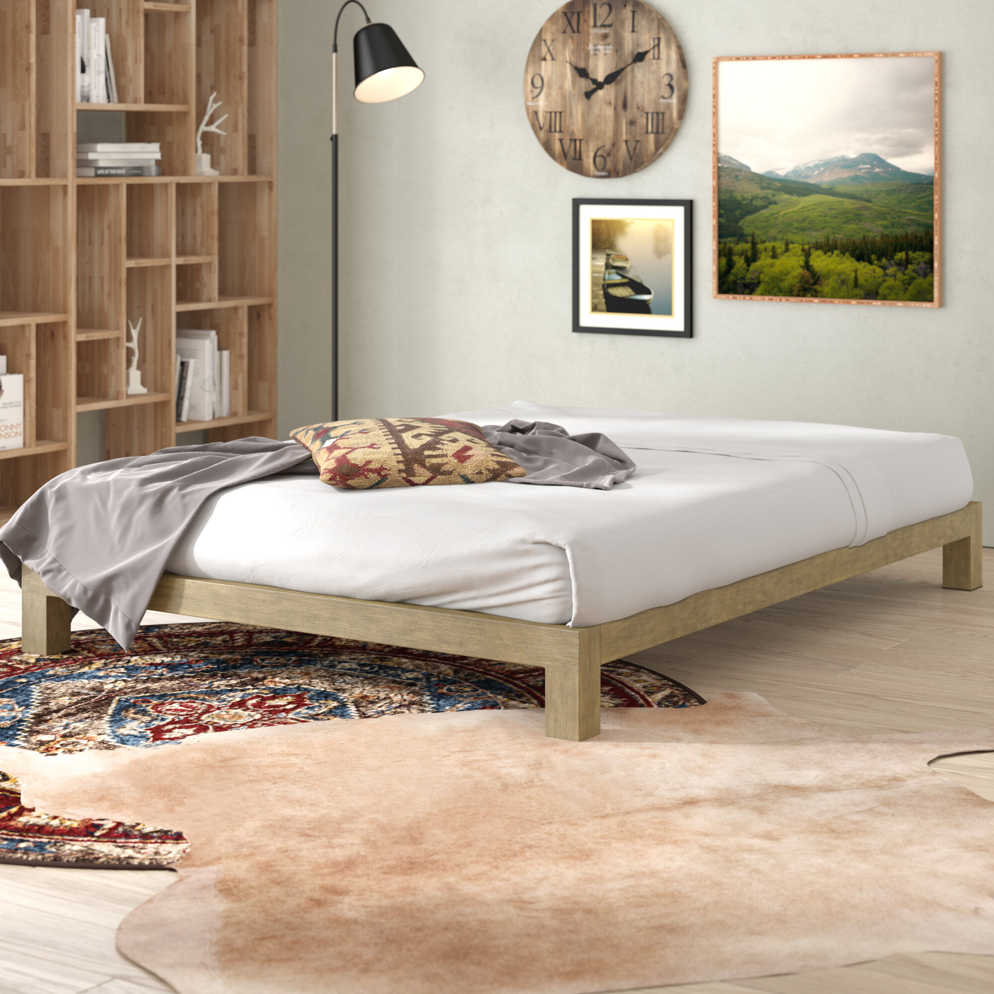 full in way modern white a bedroom with platform metal bed frame of size stylish