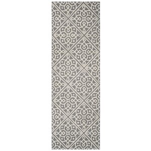 Mahoney Hand-Tufted Dark Gray/Ivory Area Rug