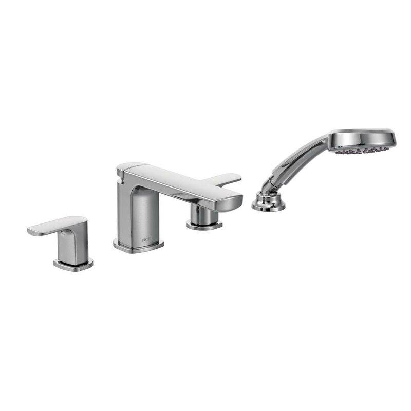 deck mount tub faucet with diverter. Rizon Double Handle Deck Mount Tub Faucet Trim with Hand Shower Moen