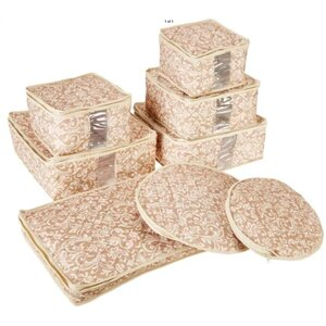 Hudson China Damask Dining Plate Set with Storage Container (Set of 8)