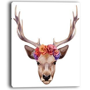 Designart Deer Portrait With Floral Head Deer Wall Art On Wrapped Canvas