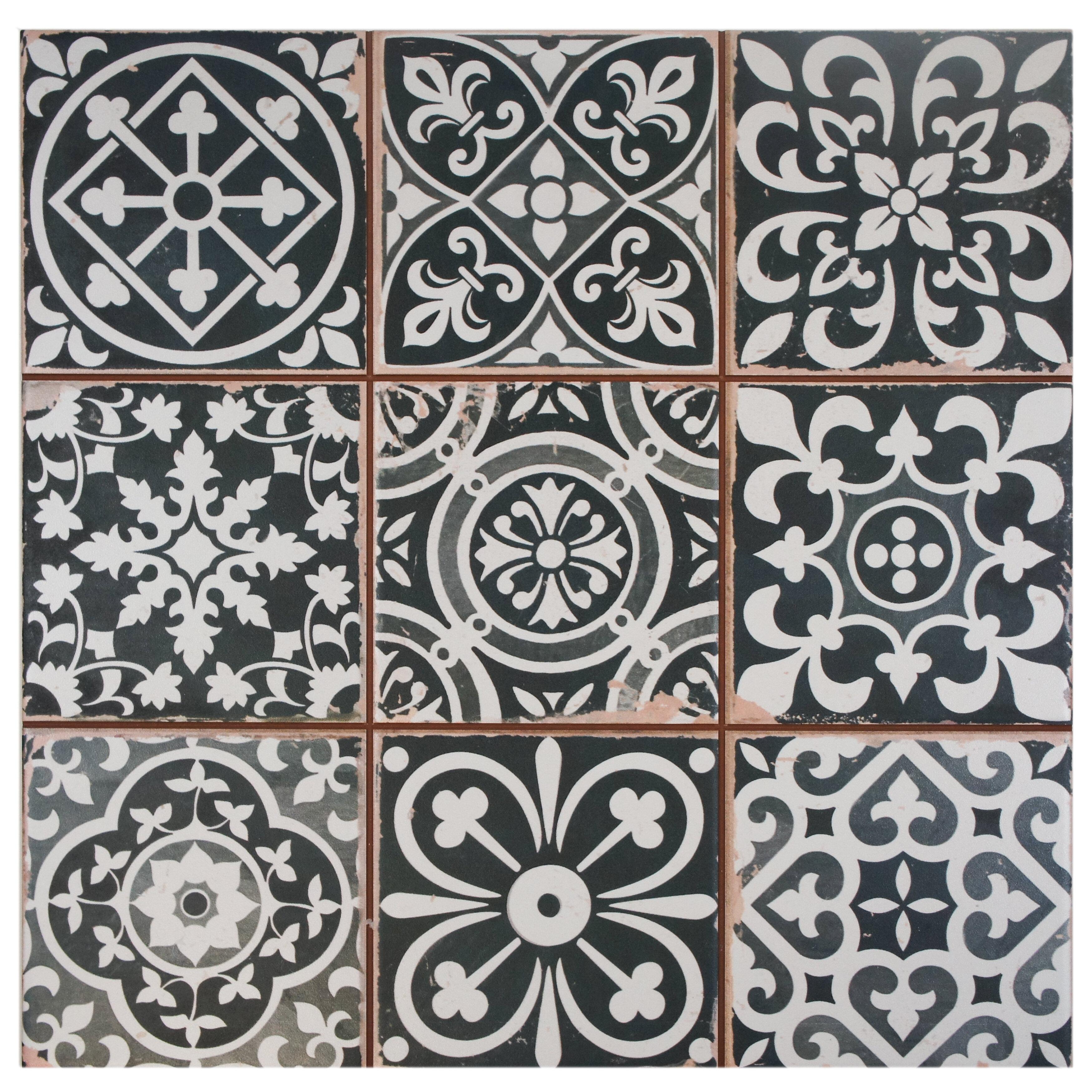 """EliteTile Faventie Nero 13"""" x 13"""" Ceramic Field Tile in Black White"""