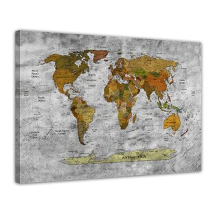 Maps canvas wall art wayfair retro world map ii framed photographic print on canvas in black and white gumiabroncs Image collections