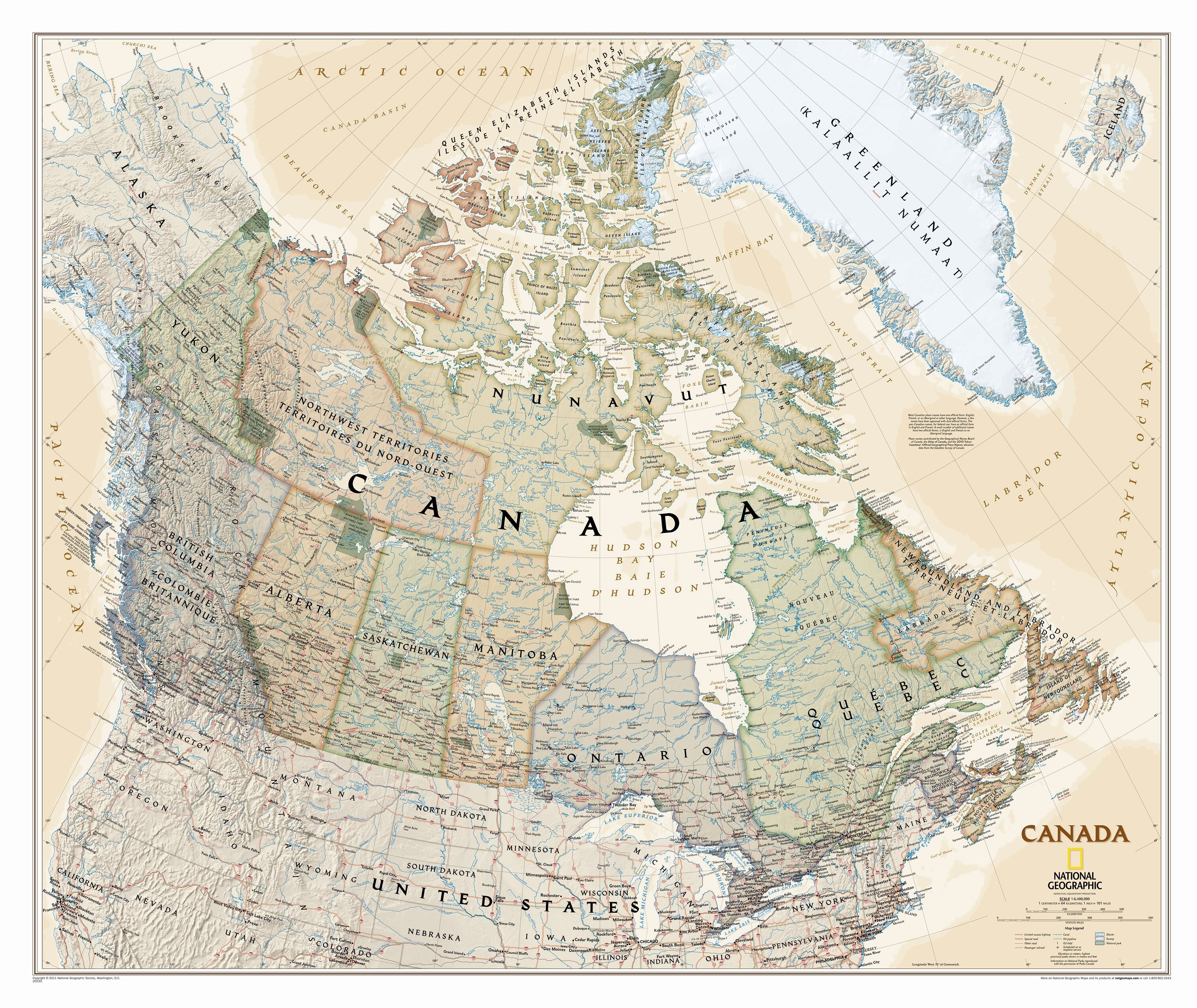 National Geographic Maps Canada Executive Wall Map   Wayfair on